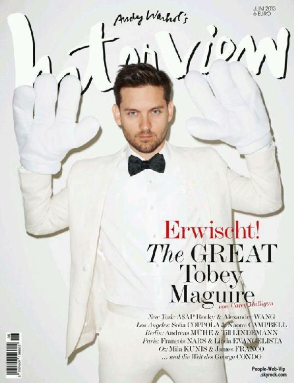  Tobey Maguire  En couverture du magazine &quot; Interview&quot;